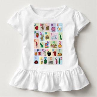 Camiseta Infantil O alfabeto de ABC que aprende alimentos felizes