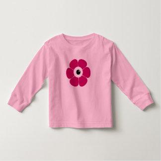 Camiseta Infantil o olho da flor cor-de-rosa