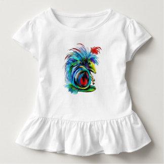 Camiseta Infantil O T Ruffled algodão das meninas da criança de