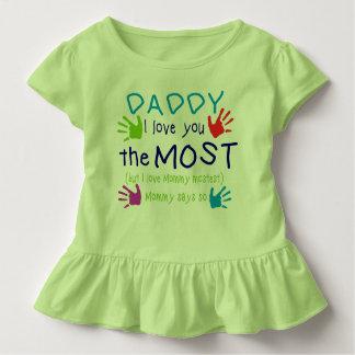 """Camiseta Infantil """"Pai superior Ruffled criança eu te amo mais """""""