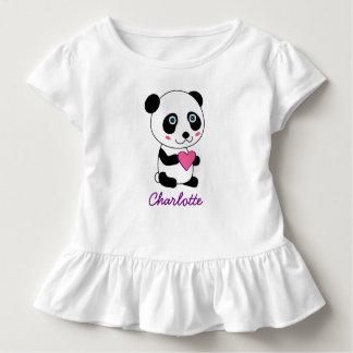 Camiseta Infantil Panda bonito personalizada com um coração