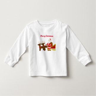 Camiseta Infantil Papai Noel no trenó do Natal