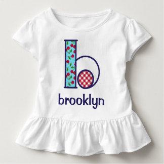 Camiseta Infantil Parte superior b do monograma das meninas da