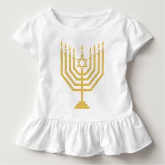 Camiseta Infantil Parte superior do plissado das meninas de Menorah