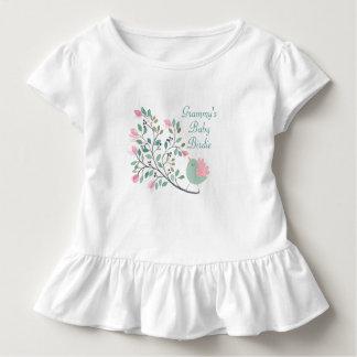 Camiseta Infantil Parte superior Ruffled menina do passarinho do