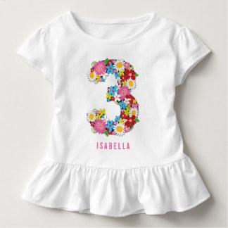 Camiseta Infantil Partido de aniversário de 3 anos da menina do rosa