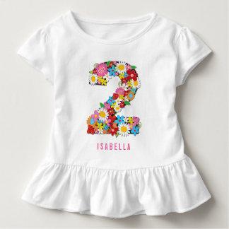 Camiseta Infantil Partido de segundo aniversário da menina do jardim