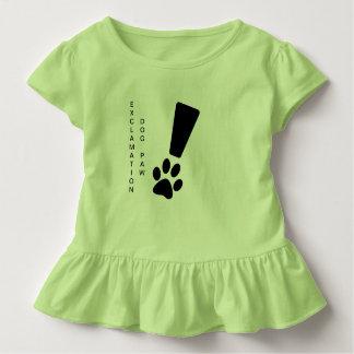 Camiseta Infantil PATA DO CÃO DA EXCLAMAÇÃO! T do plissado da
