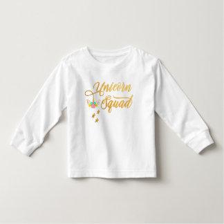 Camiseta Infantil Pelotão do unicórnio. Caligrafia, cara floral do