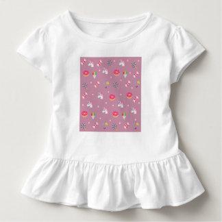 Camiseta Infantil pirulitos cor-de-rosa bonitos das flores dos doces