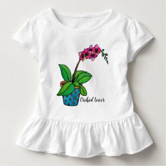 Camiseta Infantil Planta da orquídea da aguarela no pote bonito