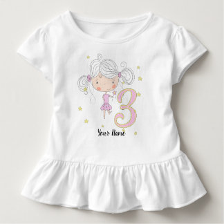 Camiseta Infantil Princesa cor-de-rosa do aniversário de 3 anos