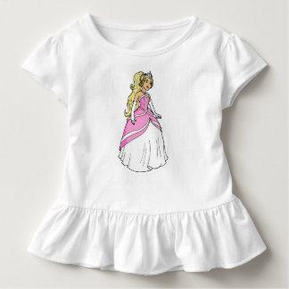 Camiseta Infantil Princesa no T cor-de-rosa do plissado da criança