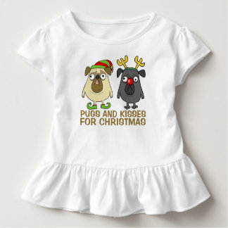 Camiseta Infantil Pugs e T engraçados do plissado do Natal | dos