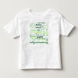 Camiseta Infantil Reduza, reúso, recicl a nuvem da palavra