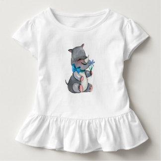 Camiseta Infantil Rinoceronte do bebê com flor e arco azuis