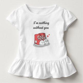 Camiseta Infantil Romântico engraçado nada sem você T do plissado de