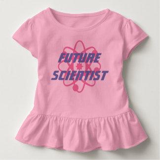 Camiseta Infantil Rosa do T do plissado do cientista da criança