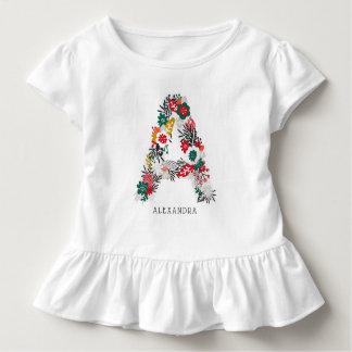 Camiseta Infantil Rotule um monograma floral | lunático da letra mim