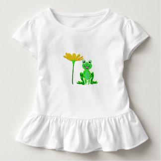 Camiseta Infantil sapo pequeno e flor amarela