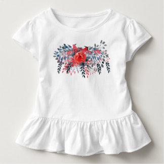 Camiseta Infantil Sarja de Nimes azul floral e rosa vermelha da
