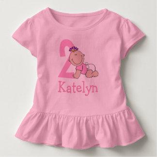 Camiseta Infantil Segundo aniversário cor-de-rosa bonito