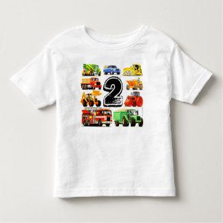 Camiseta Infantil Segundo aniversário do caminhão da construção do