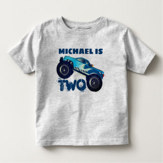 Camiseta Infantil Segundo aniversário personalizado do monster truck