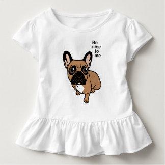 Camiseta Infantil Seja agradável à jovem corça preta bonito Frenchie