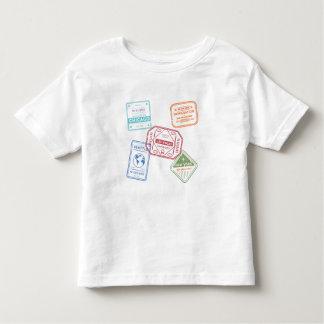 Camiseta Infantil Selos pequenos do passaporte do viagem dos EUA