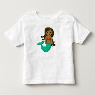Camiseta Infantil sereia do geek do pixel 8Bit com pele escura