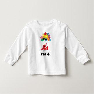 Camiseta Infantil Sesame Street   Elmo & aniversário dos amigos -4th