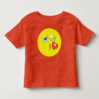Camiseta Infantil Sopro bonito um beijo Emoji amarelo vermelho