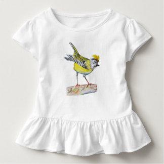 Camiseta Infantil T amarelo do plissado da criança do desenho do