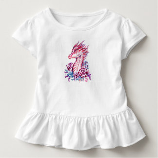 Camiseta Infantil T bonito do plissado da criança da arte do dragão