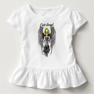 Camiseta Infantil T bonito do plissado da criança do anjo