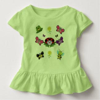 Camiseta Infantil T colorido do plissado da criança do jardim