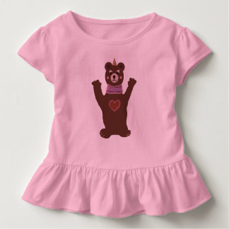 Camiseta Infantil T cor-de-rosa do plissado da criança com urso