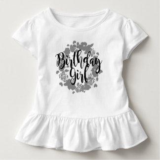 Camiseta Infantil T da flor da menina do aniversário