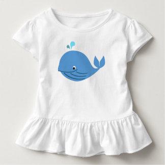Camiseta Infantil T do plissado da baleia azul