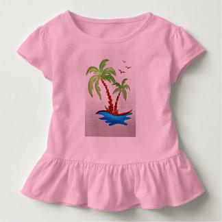 Camiseta Infantil T do plissado da criança com imagem das palmeiras