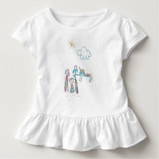 Camiseta Infantil T do plissado da criança com imagem do miúdo da