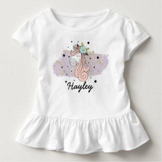 Camiseta Infantil T do plissado da criança das meninas do unicórnio