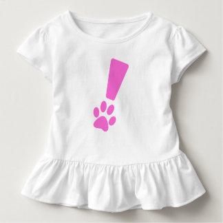 Camiseta Infantil T do plissado da pata do cão da exclamação