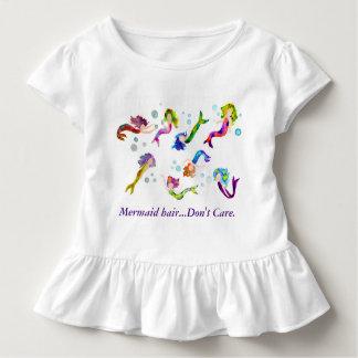 Camiseta Infantil T do plissado da sereia