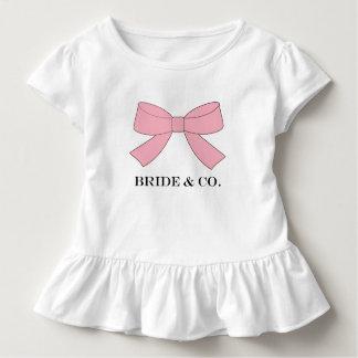 Camiseta Infantil T do plissado do partido do bebê do rosa do chá da