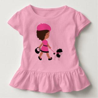 Camiseta Infantil T do rosa do plissado da criança