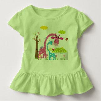 Camiseta Infantil T do verde do plissado da criança