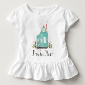 Camiseta Infantil T doce Home simples do plissado da casa |