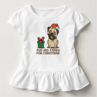 Camiseta Infantil T engraçado do plissado do Natal | do Pug e dos